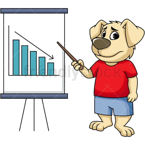Dog cartoon character pointing to declining graph. PNG - JPG and vector EPS (infinitely scalable). Image isolated on transparent background.