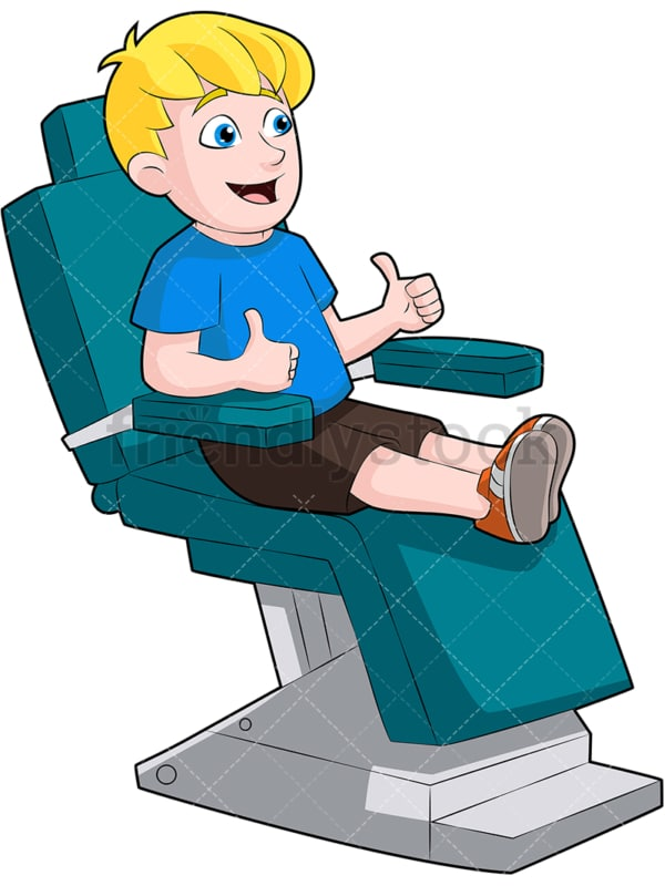 Little child in dentist chair thumbs up. PNG - JPG and vector EPS (infinitely scalable). Image isolated on transparent background.