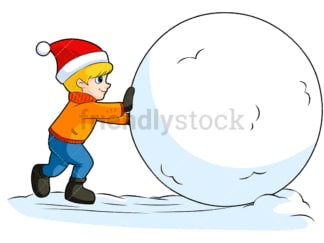 Little kid rolling snowball. PNG - JPG and vector EPS (infinitely scalable). Image isolated on transparent background.