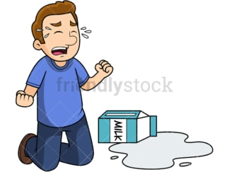 Man crying over spilt milk. PNG - JPG and vector EPS file formats (infinitely scalable). Image isolated on transparent background.