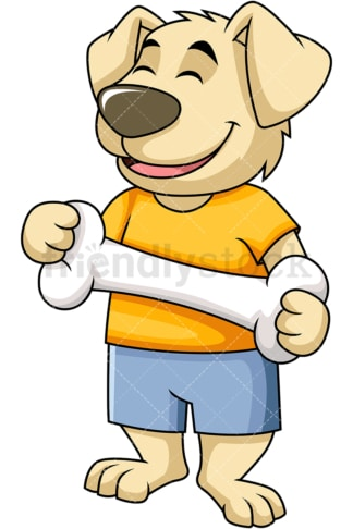 Dog character holding big bone. PNG - JPG and vector EPS (infinitely scalable). Image isolated on transparent background.