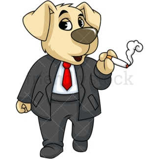 Dog character smoking. PNG - JPG and vector EPS (infinitely scalable). Image isolated on transparent background.