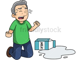 Old man crying over spilled milk. PNG - JPG and vector EPS file formats (infinitely scalable). Image isolated on transparent background.