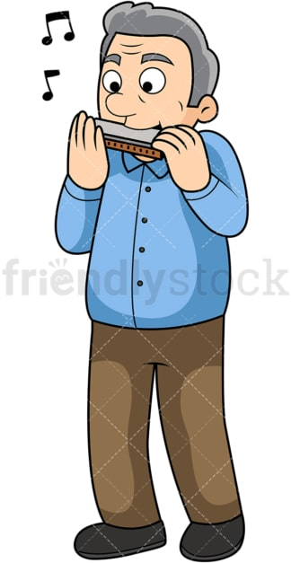 Old man harmonica player. PNG - JPG and vector EPS file formats (infinitely scalable). Image isolated on transparent background.