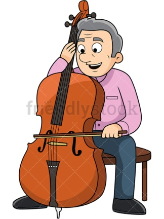 Old man playing the cello. PNG - JPG and vector EPS file formats (infinitely scalable). Image isolated on transparent background.