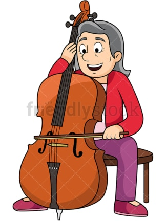 Old woman playing the cello. PNG - JPG and vector EPS file formats (infinitely scalable). Image isolated on transparent background.