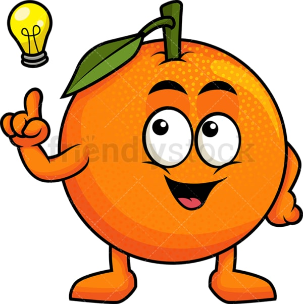 Orange cartoon character having an idea. PNG - JPG and vector EPS (infinitely scalable). Image isolated on transparent background.