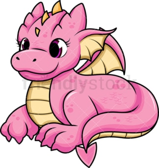 Pink female dragon. PNG - JPG and vector EPS (infinitely scalable). Image isolated on transparent background.