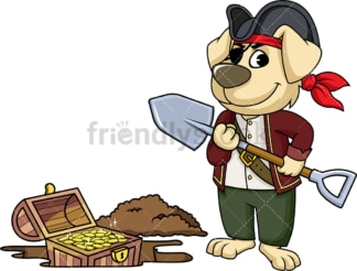 Pirate dog finding treasure. PNG - JPG and vector EPS file formats (infinitely scalable). Image isolated on transparent background.