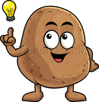 Potato cartoon character having an idea. PNG - JPG and vector EPS (infinitely scalable). Image isolated on transparent background.