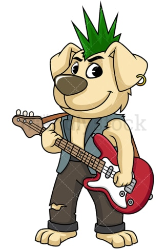 Punk rock dog playing guitar. PNG - JPG and vector EPS (infinitely scalable). Image isolated on transparent background.
