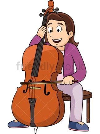 Woman playing the cello. PNG - JPG and vector EPS file formats (infinitely scalable). Image isolated on transparent background.