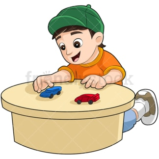 Young boy playing with race cars. PNG - JPG and vector EPS (infinitely scalable). Image isolated on transparent background.