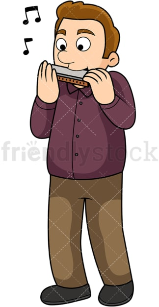 Young man playing the harmonica. PNG - JPG and vector EPS file formats (infinitely scalable). Image isolated on transparent background.