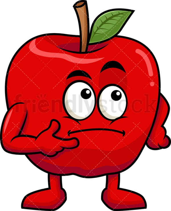 Apple cartoon character thinking. PNG - JPG and vector EPS (infinitely scalable). Image isolated on transparent background.