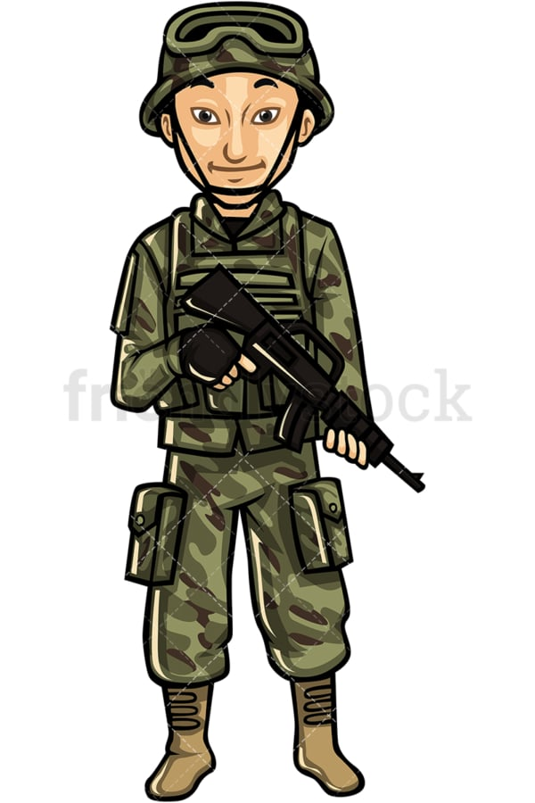 Asian male soldier. PNG - JPG and vector EPS file formats (infinitely scalable). Image isolated on transparent background.