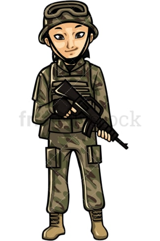 Asian female soldier. PNG - JPG and vector EPS file formats (infinitely scalable). Image isolated on transparent background.