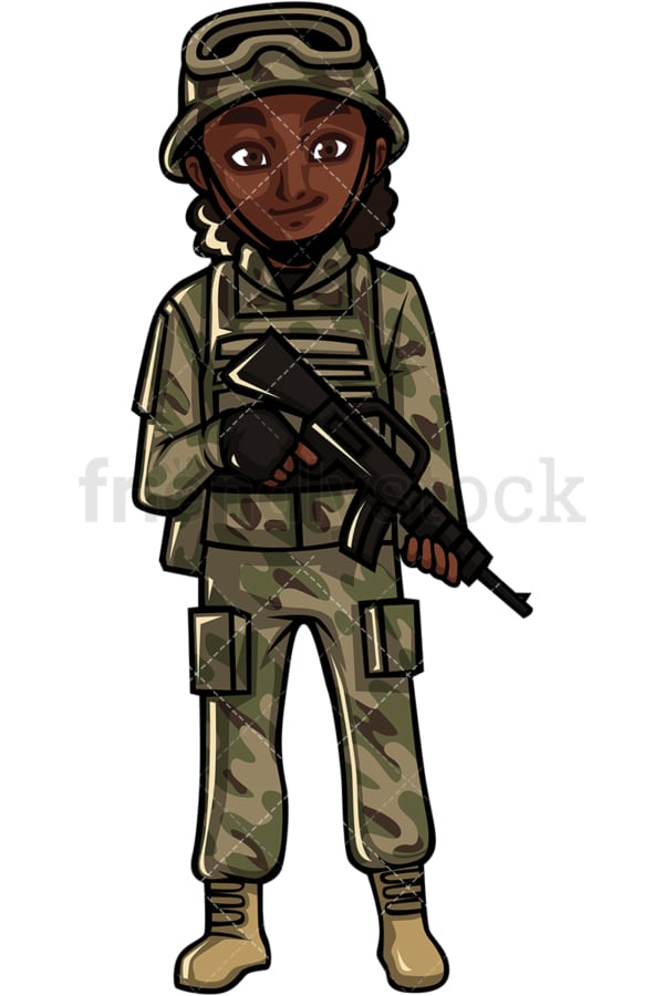 African American female soldier with weapon. PNG - JPG and vector EPS file formats (infinitely scalable). Image isolated on transparent background.