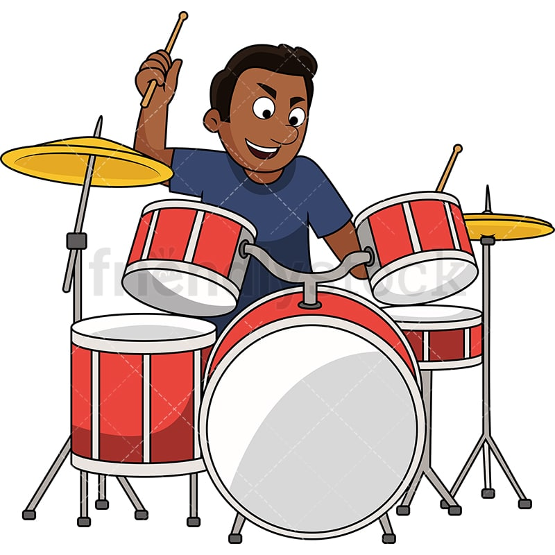 Black Guy Playing Drums Cartoon Vector Clipart - FriendlyStock