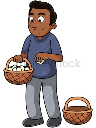 Black guy puts all eggs in one basket. PNG - JPG and vector EPS file formats (infinitely scalable). Image isolated on transparent background.
