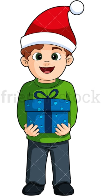 Kid holding christmas present. PNG - JPG and vector EPS (infinitely scalable). Image isolated on transparent background.