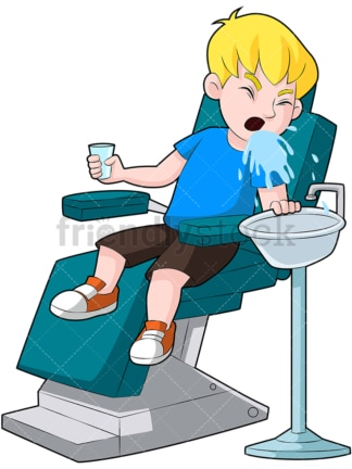 Kid in dentist chair spitting water. PNG - JPG and vector EPS (infinitely scalable). Image isolated on transparent background.
