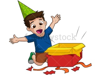 Boy opening birthday present. PNG - JPG and vector EPS (infinitely scalable). Image isolated on transparent background.