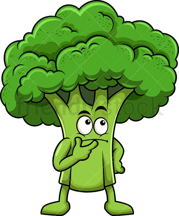 Broccoli cartoon character thinking. PNG - JPG and vector EPS (infinitely scalable). Image isolated on transparent background.
