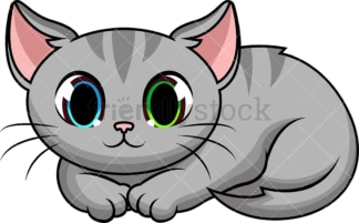Cat curled up. PNG - JPG and vector EPS (infinitely scalable). Image isolated on transparent background.