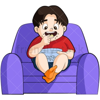 Overweight little boy eating pop corn. PNG - JPG and vector EPS file formats (infinitely scalable). Image isolated on transparent background.