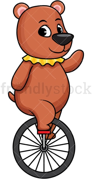 Circus bear on unicycle. PNG - JPG and vector EPS (infinitely scalable). Image isolated on transparent background.