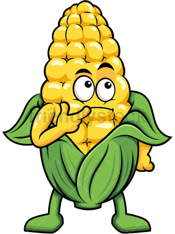 Maize cartoon character thinking. PNG - JPG and vector EPS (infinitely scalable). Image isolated on transparent background.