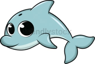 Adorable baby dolphin. PNG - JPG and vector EPS (infinitely scalable). Image isolated on transparent background.