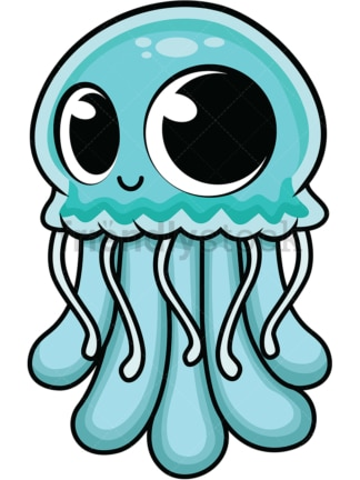 Adorable baby jellyfish. PNG - JPG and vector EPS (infinitely scalable). Image isolated on transparent background.