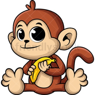 Adorable baby monkey. PNG - JPG and vector EPS (infinitely scalable). Image isolated on transparent background.
