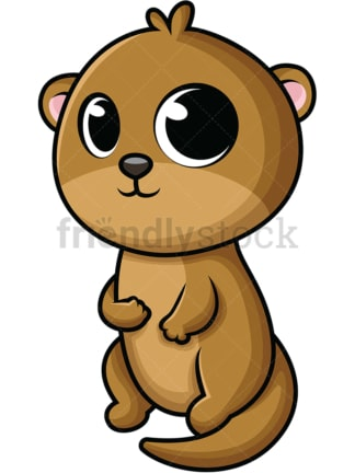 Adorable baby otter. PNG - JPG and vector EPS (infinitely scalable). Image isolated on transparent background.