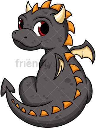 Cute black dragon. PNG - JPG and vector EPS (infinitely scalable). Image isolated on transparent background.