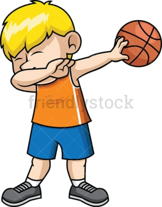Basketball boy doing the dab. PNG - JPG and vector EPS file formats (infinitely scalable). Image isolated on transparent background.