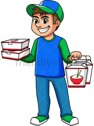 Delivery guy holding asian food boxes. PNG - JPG and vector EPS (infinitely scalable). Image isolated on transparent background.
