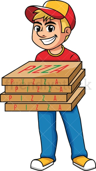 Delivery man holding pizza boxes. PNG - JPG and vector EPS (infinitely scalable). Image isolated on transparent background.