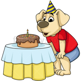 Dog character blowing candles on birthday. PNG - JPG and vector EPS (infinitely scalable). Image isolated on transparent background.