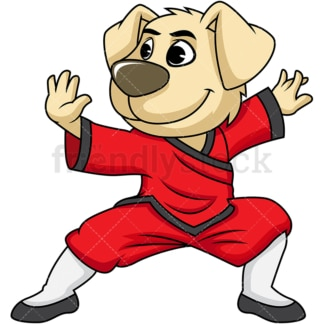Dog cartoon character doing kung fu. PNG - JPG and vector EPS (infinitely scalable). Image isolated on transparent background.