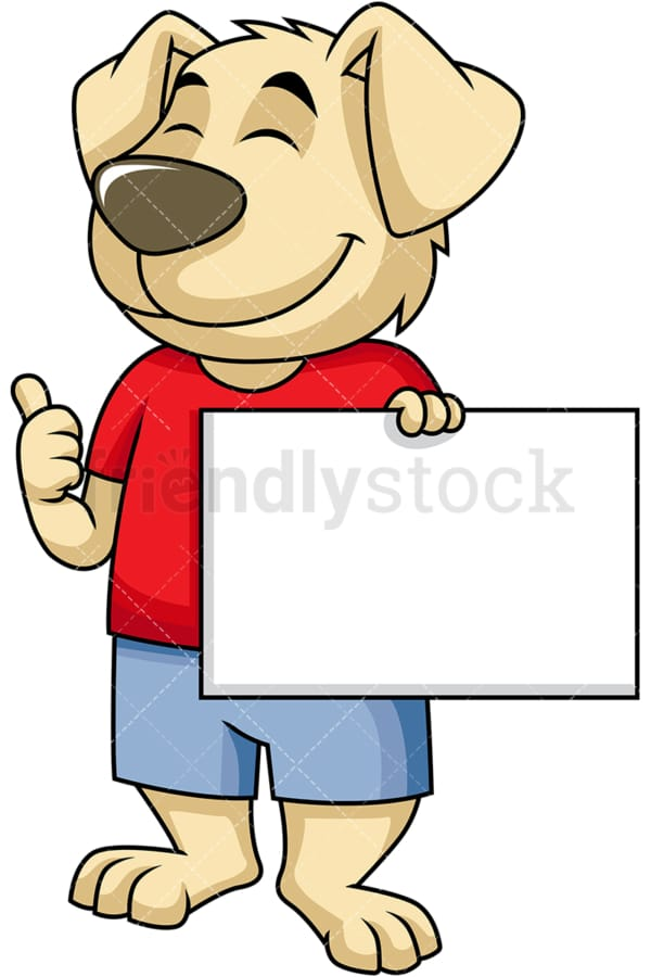 Dog cartoon character holding blank sign. PNG - JPG and vector EPS (infinitely scalable). Image isolated on transparent background.