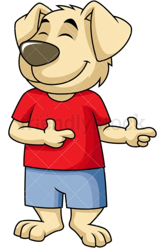 Dog cartoon character pointing sideways. PNG - JPG and vector EPS (infinitely scalable). Image isolated on transparent background.