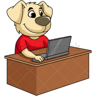 Dog cartoon character working on laptop. PNG - JPG and vector EPS (infinitely scalable). Image isolated on transparent background.