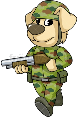 Dog soldier on patrol. PNG - JPG and vector EPS (infinitely scalable). Image isolated on transparent background.