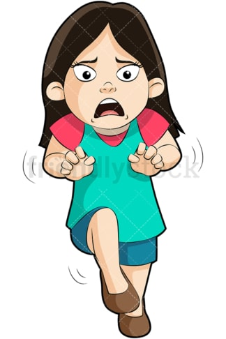 Frightened little girl. PNG - JPG and vector EPS (infinitely scalable). Image isolated on transparent background.
