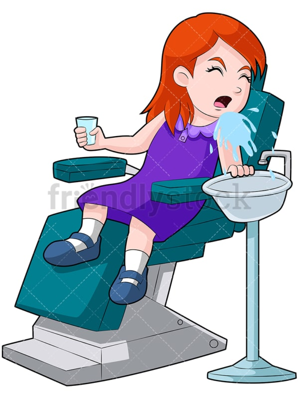 Girl at the dentist spitting water. PNG - JPG and vector EPS (infinitely scalable). Image isolated on transparent background.