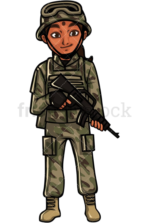 Indian woman soldier. PNG - JPG and vector EPS file formats (infinitely scalable). Image isolated on transparent background.