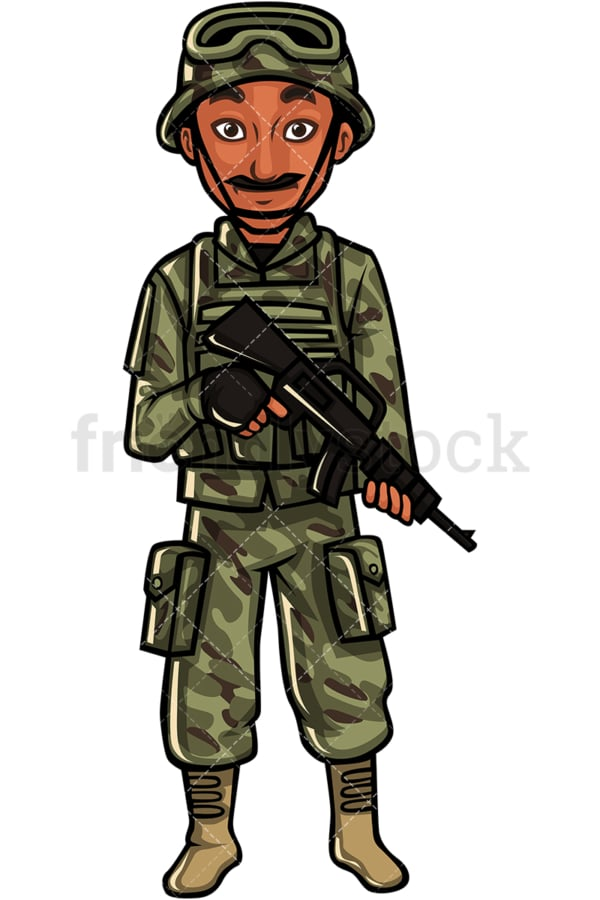 Indian soldier. PNG - JPG and vector EPS file formats (infinitely scalable). Image isolated on transparent background.